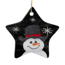 Happy Snowman Star Ornament