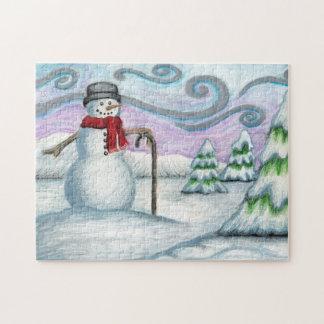 Happy Snowman Winter Wonderland Puzzle