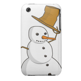 Happy snowman with a hat iPhone 3 cases