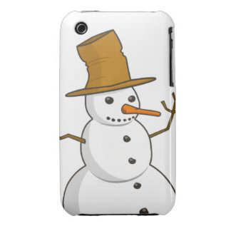 Happy snowman with a hat Case-Mate iPhone 3 case