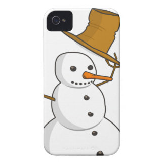 Happy snowman with a hat iPhone 4 cover