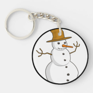 Happy snowman with a hat keychain
