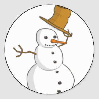 Happy snowman with a hat stickers