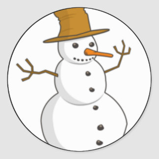 Happy snowman with a hat round stickers