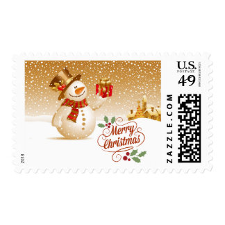 Happy Snowman with Christmas Gift Postage
