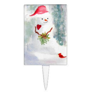 Happy snowman with holly and cardinal pic cake topper