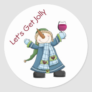 Happy Snowman with Wine Christmas Sticker
