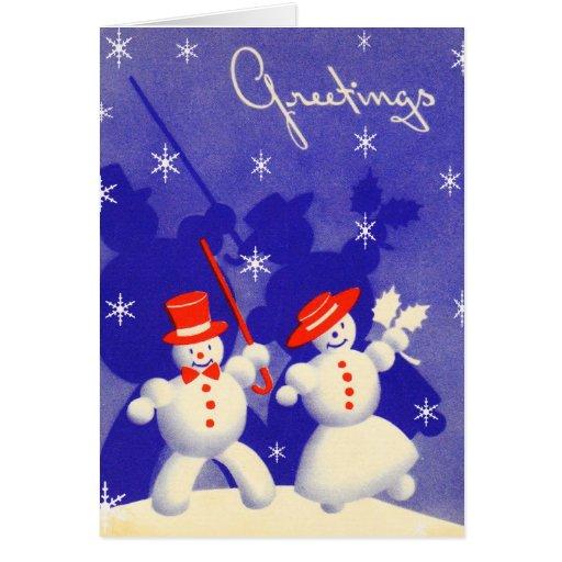 Happy Snowmen Greeting Card