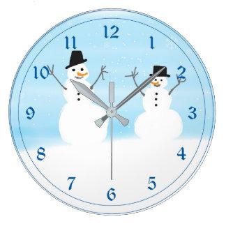 Happy Snowmen Large Clock