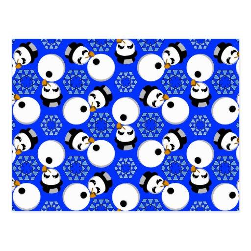 Happy Snowmen Redux Lg Any Color Postcard