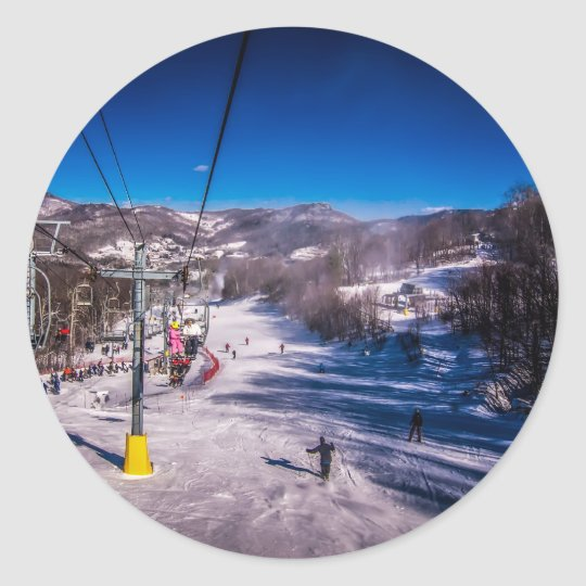 happy snowy winter classic round sticker