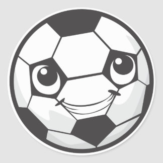 Happy Soccer Ball Smiling Classic Round Sticker