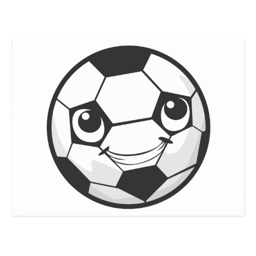 Happy Soccer Ball Smiling Postcard