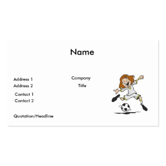 happy soccer girl kid graphic business card template