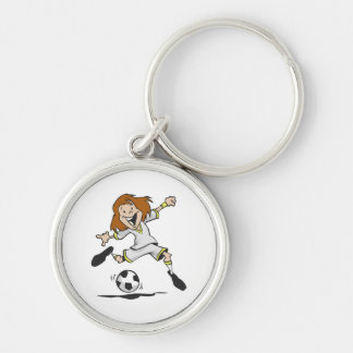 happy soccer girl kid graphic keychain