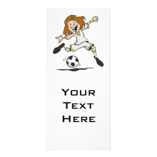 happy soccer girl kid graphic rack card