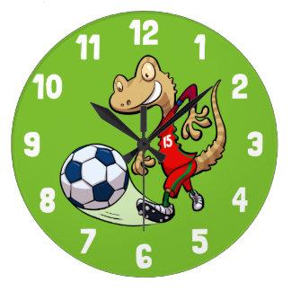 Happy Soccer Star Gecko Kicking Football Cartoon Large Clock