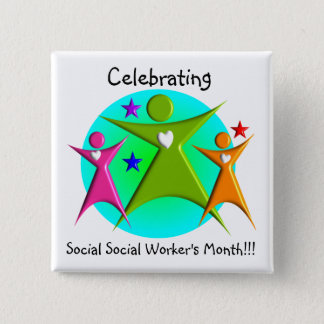 Happy Social Worker's Month 3 Stick Figures Pinback Button