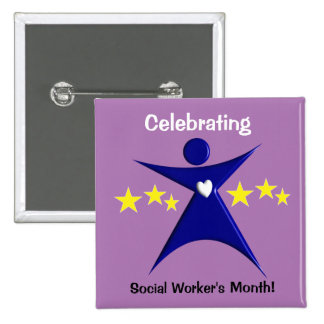 Happy Social Worker's Month Purple Pinback Button