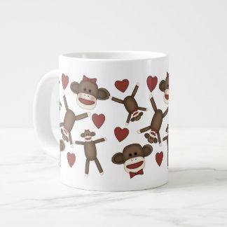 Happy Sock Monkeys and Hearts Tees, Gifts Giant Coffee Mug