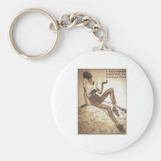 Happy Soviet Worker 1919 Basic Round Button Keychain