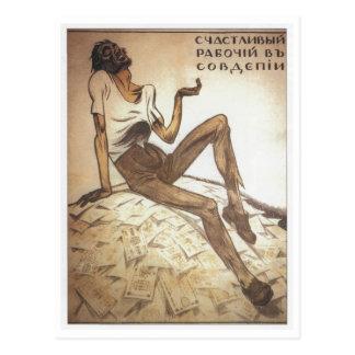 Happy Soviet Worker 1919 Post Card
