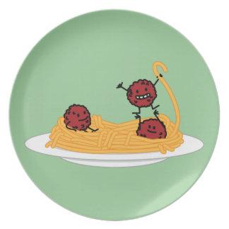Happy Spaghetti and Meatballs Plate