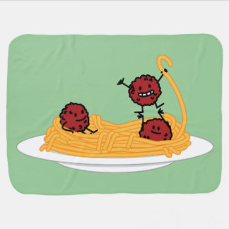 Happy Spaghetti and Meatballs Stroller Blankets