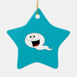 Happy Sperm Double-Sided Star Ceramic Christmas Ornament