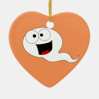 Happy Sperm Double-Sided Heart Ceramic Christmas Ornament