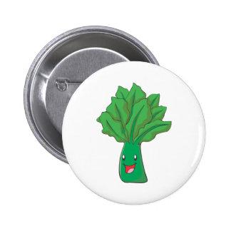 Happy Spinach Vegetable Cartoon Button