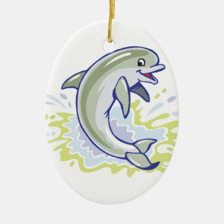 happy splashing baby dolphin Double-Sided oval ceramic christmas ornament