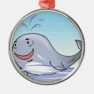 happy splashing whale round metal christmas ornament