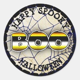 Happy Spooky Spider Webs Boo Halloween Sticker