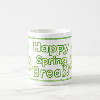 Happy spring break yellow and green coffee mug