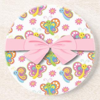 happy spring butterflies pattern coaster