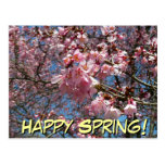 Happy Spring Cherry Blossoms and Bee Postcard
