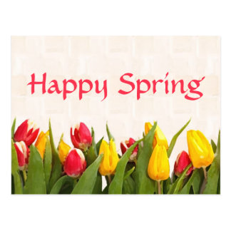 Happy Spring Colorful Tulips Postcard