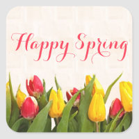 Happy Spring Colorful Tulips Square Sticker