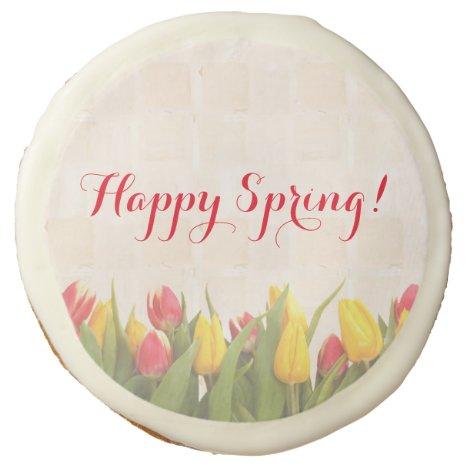 Happy Spring Colorful Tulips Sugar Cookie