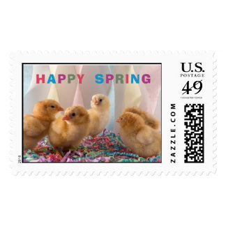 Happy Spring Cute Yellow Chicks Stamp