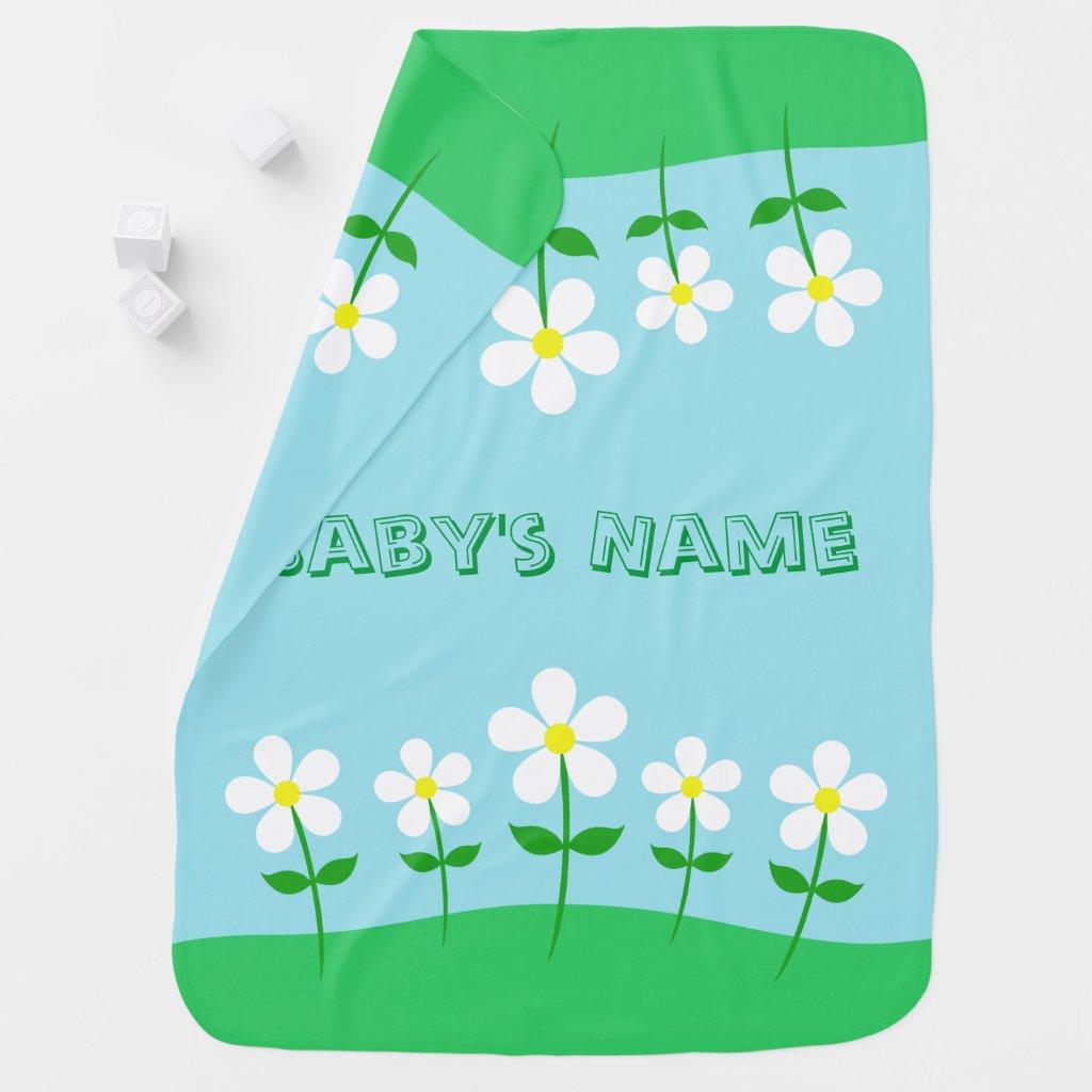 Happy Spring Daisies Swaddle Blanket