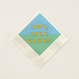 Happy Spring Equinox Cocktail Napkin (Coined) Coined Cocktail Napkin