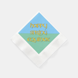 Happy Spring Equinox Coined Cocktail Napkins Coined Cocktail Napkin