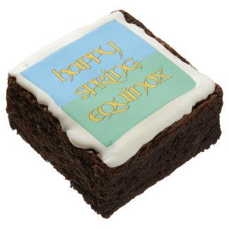 Happy Spring Equinox Party Brownies Square Brownie