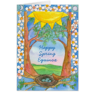 Happy Spring Equinox Robin Birds Nest Sunshine Card