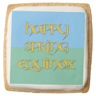 Happy Spring Equinox Shortbread Cookies Square Premium Shortbread Cookie