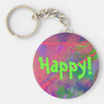 Happy Spring Fever Abstract Pastel Keychain