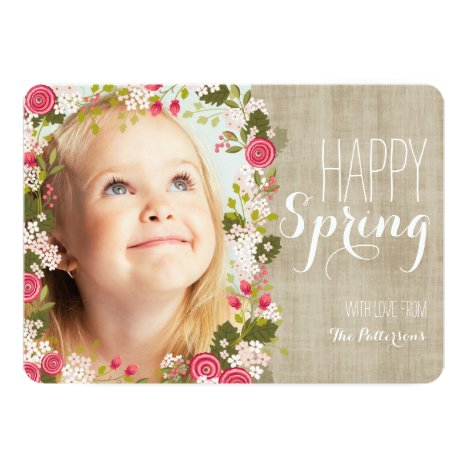 Happy Spring Floral   Linen Photo Greeting Card