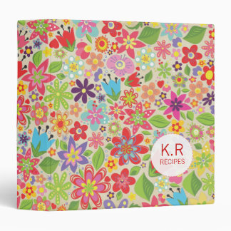 Happy Spring Flowers Pattern Recipe Binder